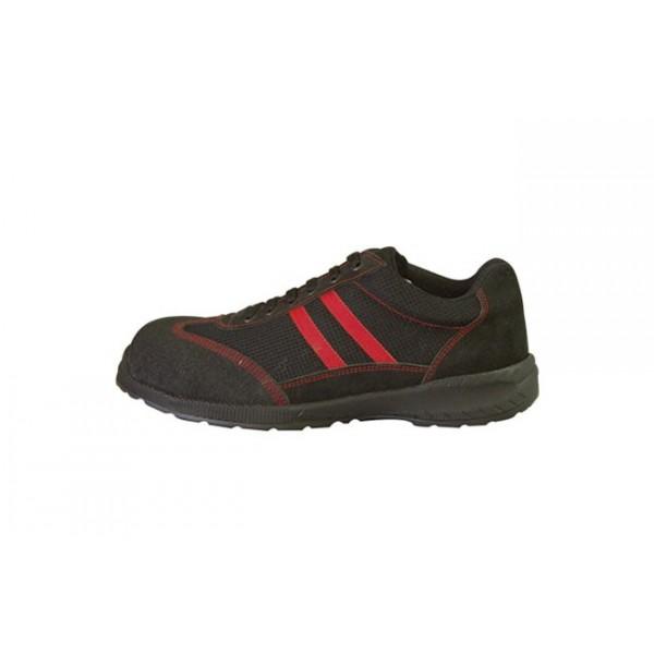 une chaussure de s curit noire et rouge confortable et solide. Black Bedroom Furniture Sets. Home Design Ideas