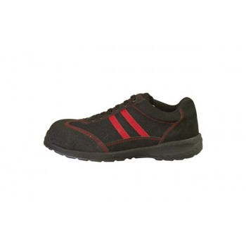 chaussure de sécurité noire et rouge